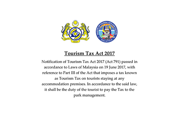 Announcement Implementation of Tourism Tax 2017 at Sarawak National Parks